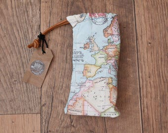 Roadtrip Sunny Sack; wanderlust, sunglasses case, bag, travel, atlas, map, adventure, pouch, summer, spring, vanlife, gifts for him and her