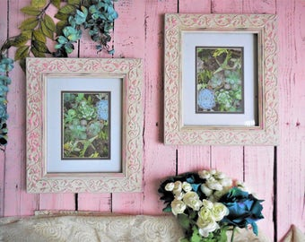 Pink and White Frames, French Country Cottage Home Decor, Matching Set of 2 Hand Painted Picture Frames, Rose Fligree