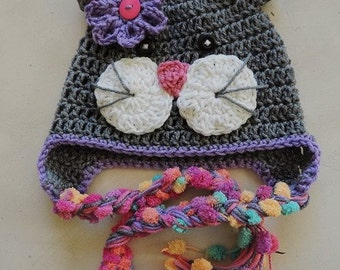 Crochet Kitty hat, Luv Beanies, Cat Hat, Animal hats, Hats for kids, Girls hats, Hats for Girls, Gray Kitty hat, Hat with pompoms,Photo Prop