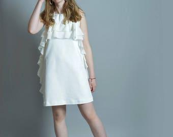 Chiffon Dress, White Dress, Ruffle Dress, Summer Dress, Backless Dress, Boho Wedding Dress, Extravagant Dress, Short White Dress, Sexy Dress