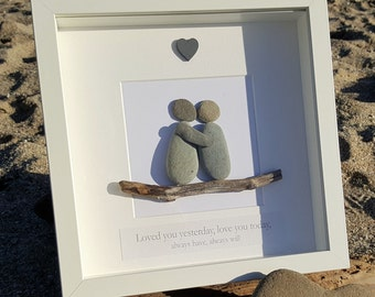 Loved you yesterday, Love you today - Cornish Pebble Art Picture