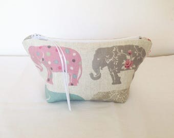 Make Up Bag, Elephants Cosmetic Bag, Elephants Make Up Bag, Elephants Pouch, Handbag Tidy, Hair Accessories Bag, Mobile Wires Bag, Gift