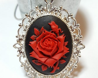 Red Rose Cameo - Bright Silver Frame