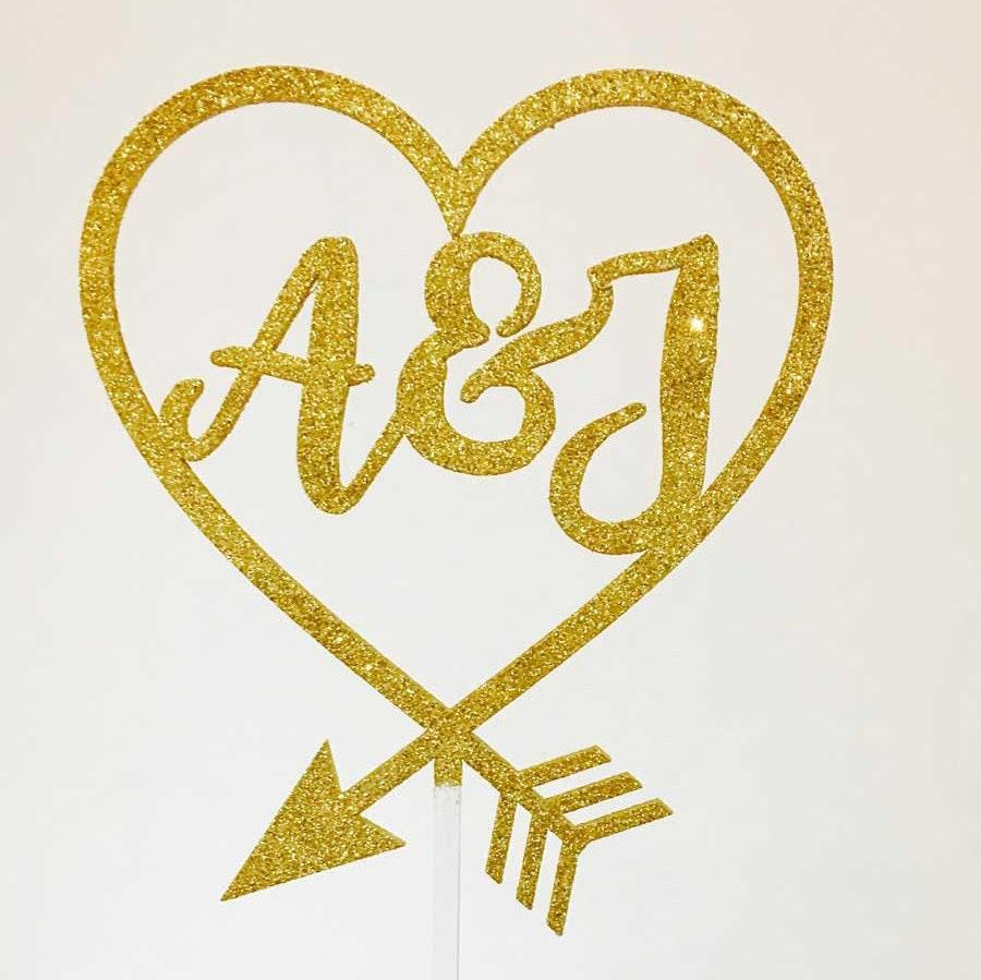 Wedding Acrylic Cake Topper - Initials Inside Heart (ARC16116) MADE ...