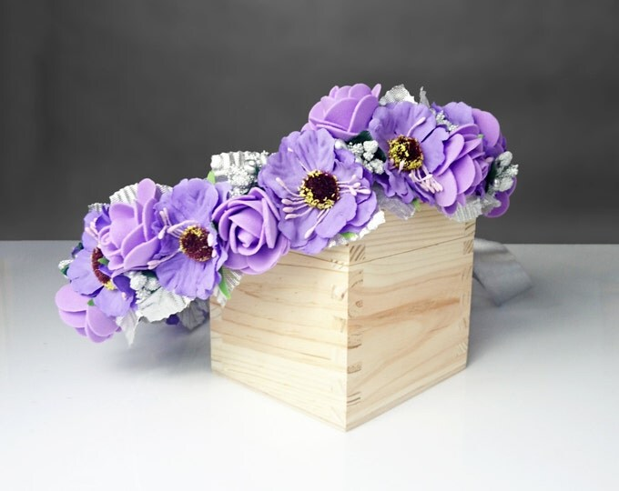 Silver purple flower CROWN  WREATH artificial flowers wedding plum satin ribbon Flower girl Bridal elegant rose cherry flower girl bride
