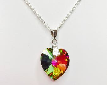 Vitrail Medium Swarovski Crystal Heart Pendant 925 Sterling Silver Crystal Heart Necklace Unique Gift for Her Rainbow Jewelry Gift Under 20