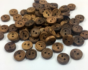 "48 Pieces 2/5"" Natural Wood Button- Organic Buttons-  Rosewood Buttons-Shirt Buttons - Brown Buttons- Kids Buttons - Ring Buttons- Baby"