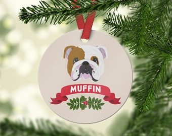 English Bulldog Ornament - Custom Dog Ornament - English Bulldog Gift - Personalized Christmas Ornament - Pet Gift - Family Dog - Dog Owner