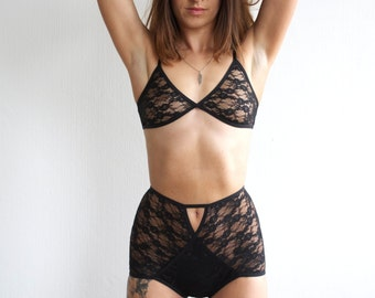 Black Lace Bralette.  Handmade lingerie by Nahina