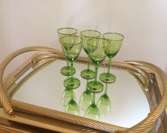 Set of 5 Vintage Emerald Green Bohemian Glass Wine Glasses - Hand Painted Gold Trim on Rims and Base