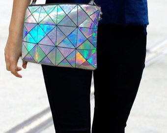HOLOGRAPHIC Leather crossbody bag, Womens leather Bag, Multi colour Leather Crossbody, leather Clutch, Metallic Leather Bag, Crossover Bag
