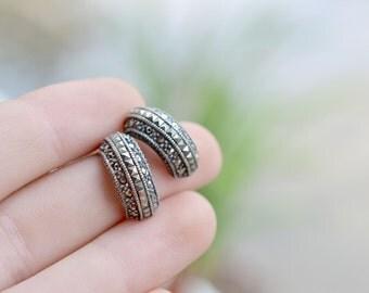 Sterling Silver Art Deco Marcasite Half Hoop Earrings