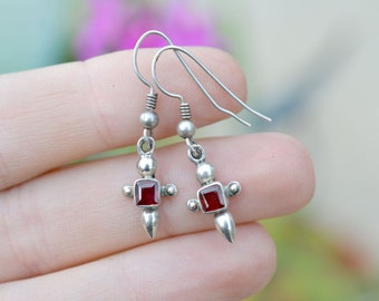 Sterling Silver Garnet Cross Dangle Wire Earrings
