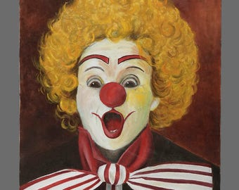 Vintage Acrylic Clown Painting 12 x 16 Circus Art