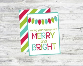 Merry and Bright Holiday Tags. Instant Digital Download