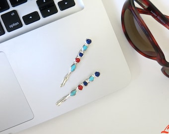 Chic lapis, turquoise and coral sterling silver Hair Pin, hair clip, bobby Pin, handcrafted, Gift for Her, Bridal, Hair Accessory ornament