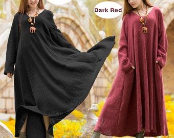 Anysize Ripple jacquard weave V-neck and wide hem linen&cotton spring autumn dress winter warm dress plus size dress plus size clothing F34A