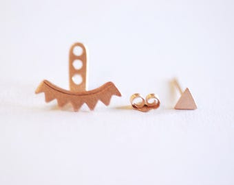 Matte Rose Gold Triangle Ear Jacket, Spike Ear Jacket, Front Back Earrings, Ear Jacket, Earring Cuff, Triangle Studs, Minimal Earrings,Lotus