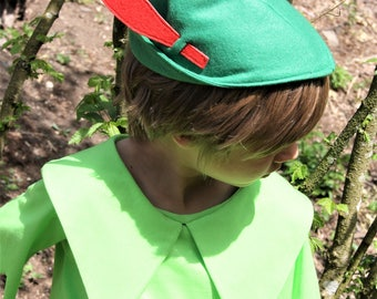 Peter Pan hat, green hat, green felt hat