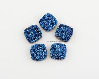Titanium Druzy-Titanium Blue Druzy-Flat Back-12x12 mm Cushion-Wholesale Gemstones-Wholesale Supplier-2 Pcs