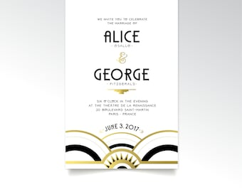 The ALICE . Invitation Set of 3 . Art Deco White Black & Gold 1920 Industrial Wave Speakeasy Wedding Parlor Great Gatsby Fitzgerald . PRINTS