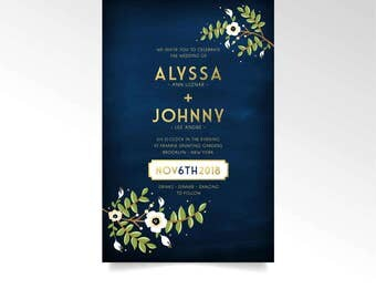 The ALYSSA . Invitation Wedding Set Gold Creme & Navy Chalkboard Anemone Magnolia Vintage foliage Leafy Branch RSVP Postcard Details Card