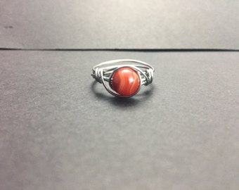Red Striped Agate Wire Wrapped Ring