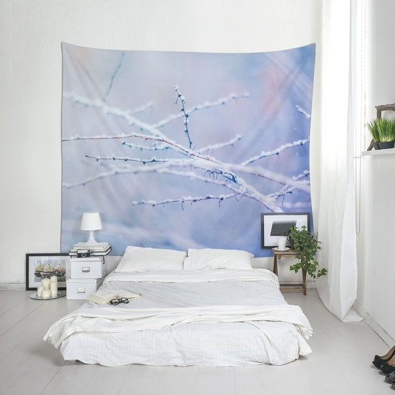 Winter Tapestry, Dried Branches, Snow Wall Decor, Snow Wall Tapestry, Blue And White, Winter Decoration, Wall Hangings, Winter Trees