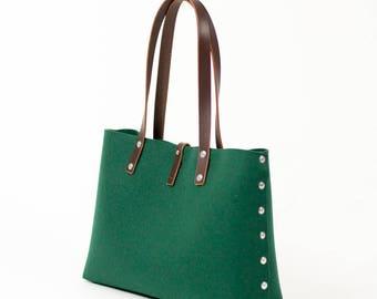 Felt Shoulder Bag, Felt Handbag; Green Bags & Purses, Shoulder Bags, Handbags, Felt Shoulder Bag