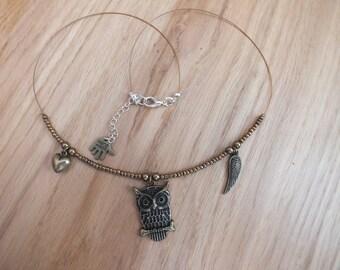 Owl necklace, feather necklace, heart necklace, bronze necklace