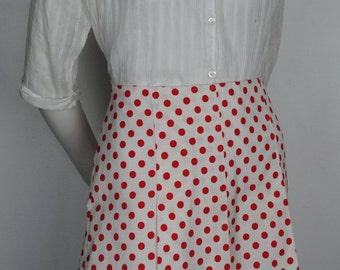 Vintage 60s Polka Dot Mini Skirt - 1960s Red & White High Waisted Skirt