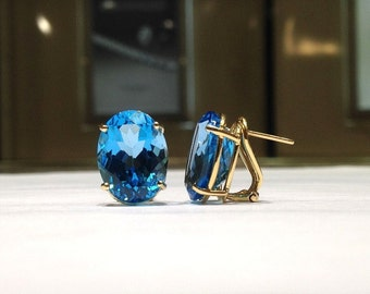20.00 Carat Genuine Natural Oval Shape Blue Topaz Earrings in 14K Gold WATCH VIDEO