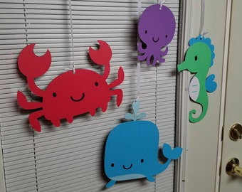Under the sea ceiling hangers, under the sea birthday party, under the sea banner, under the sea decorations, seahorse
