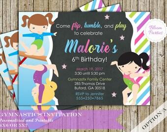 Gymnastics Birthday Invitation Gymnastics Party Invite Tumble Party Digital Printable