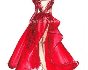 Fashion Illustration, Fashion wall art, Red wall art, Fashion art, Red fashion art, Fashion girl, Woman fashion art, Fashion painting