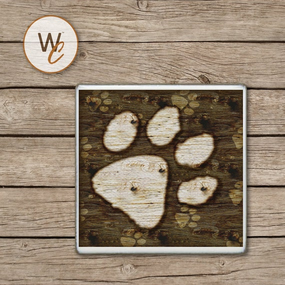 Drink Coaster Rustic Dog Paw Print Dogs And Puppies Handmade