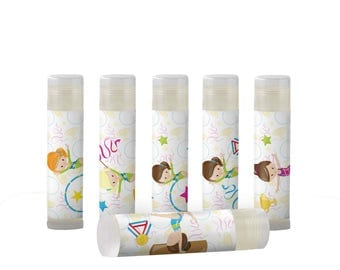 Gymnastics Party Favors, Girls  Lip Balm Party Favors-Gymnastic Birthday. Add your own message or individual names.  Set of 6
