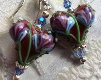 Lampwork Earrings, Glass Earrings, Glass Heart Earrings, For Her, Jewelry, Womens Jewelry, Heart Earrings