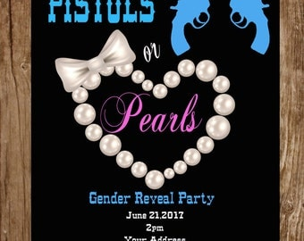Pistols Or Pearls Gender Reveal Party Invitation
