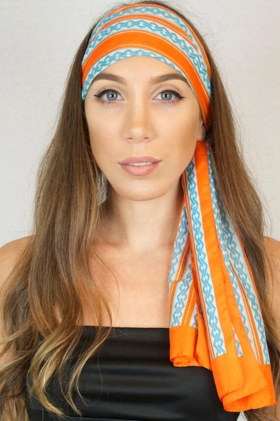 Vintage 70s 80s Striped Oblong Chiffon Light Scarf Orange Blue Print