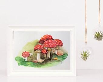 Amanita Muscaria watercolor Original watercolor painting One of a kind Home decor Wall art Nature art Mushrooms Christmas gift Autumn