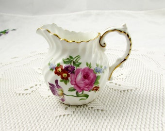 Aynsley Creamer with Flowers, Vintage Bone China, Creamer ONLY