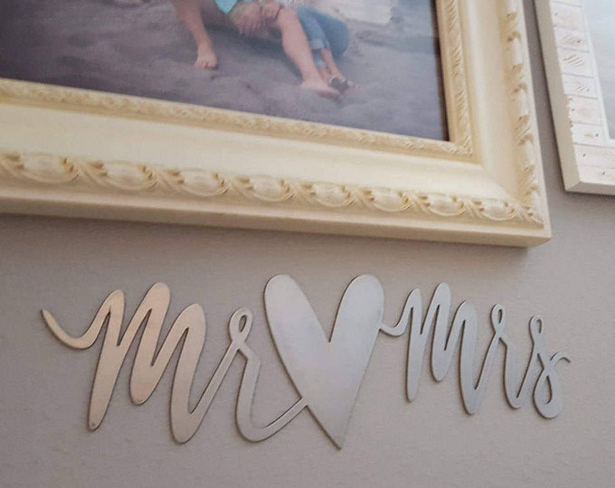 Mr and Mrs, Bridal metal sign, Engagement Wedding Decor, Fixer Upper Style, Farmhouse Style Calligraphy Art, Bride Groom, Gallery Photo prop