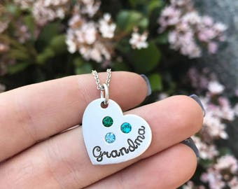 Grandma or Mom Pendant with Birthstones - Mommy Jewelry - Grandmother - Hand Stamped Jewelry - Birthstone Jewelry - Godmother - Mother's Day