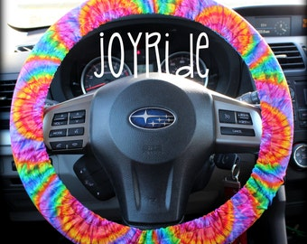 Steering Wheel Cover Tye Dye Rainbow- Sunburst Car Accessories Hippie Tie Dye Bohemian Matching Keychain Wristlet option