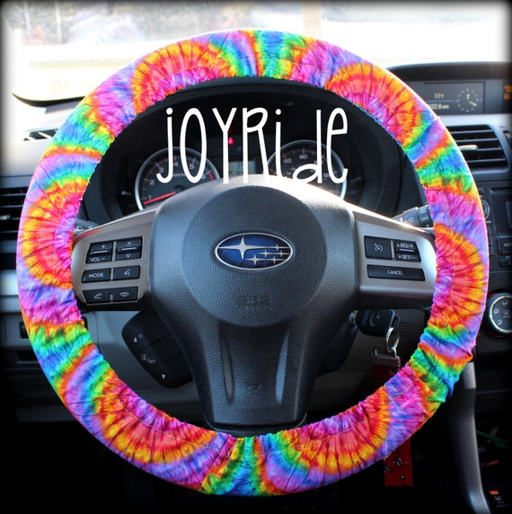 steering wheel cover tye dye rainbow sunburst car accessories. Black Bedroom Furniture Sets. Home Design Ideas