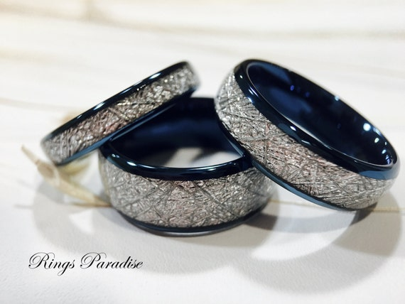 Matching Wedding Bands Meteorite Inlay Rings His and Her