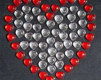 70pcs X 8mm Self Adhesive Diamante Stick On Hearts Gems Vajazzle Red Love Craft