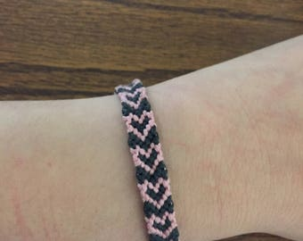 Pink & Gray heart friendship bracelet with button