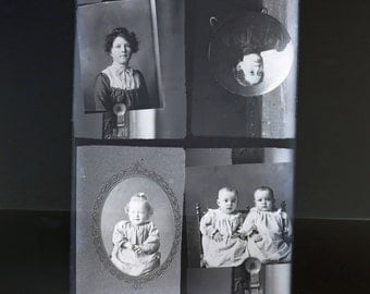 Glass Plate Negative of 4 Different Antique Photographs Vintage Twins Photo Instant Ancestor